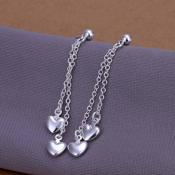 Vienna Jewelry Sterling Silver Drop Heart Pendant Earring