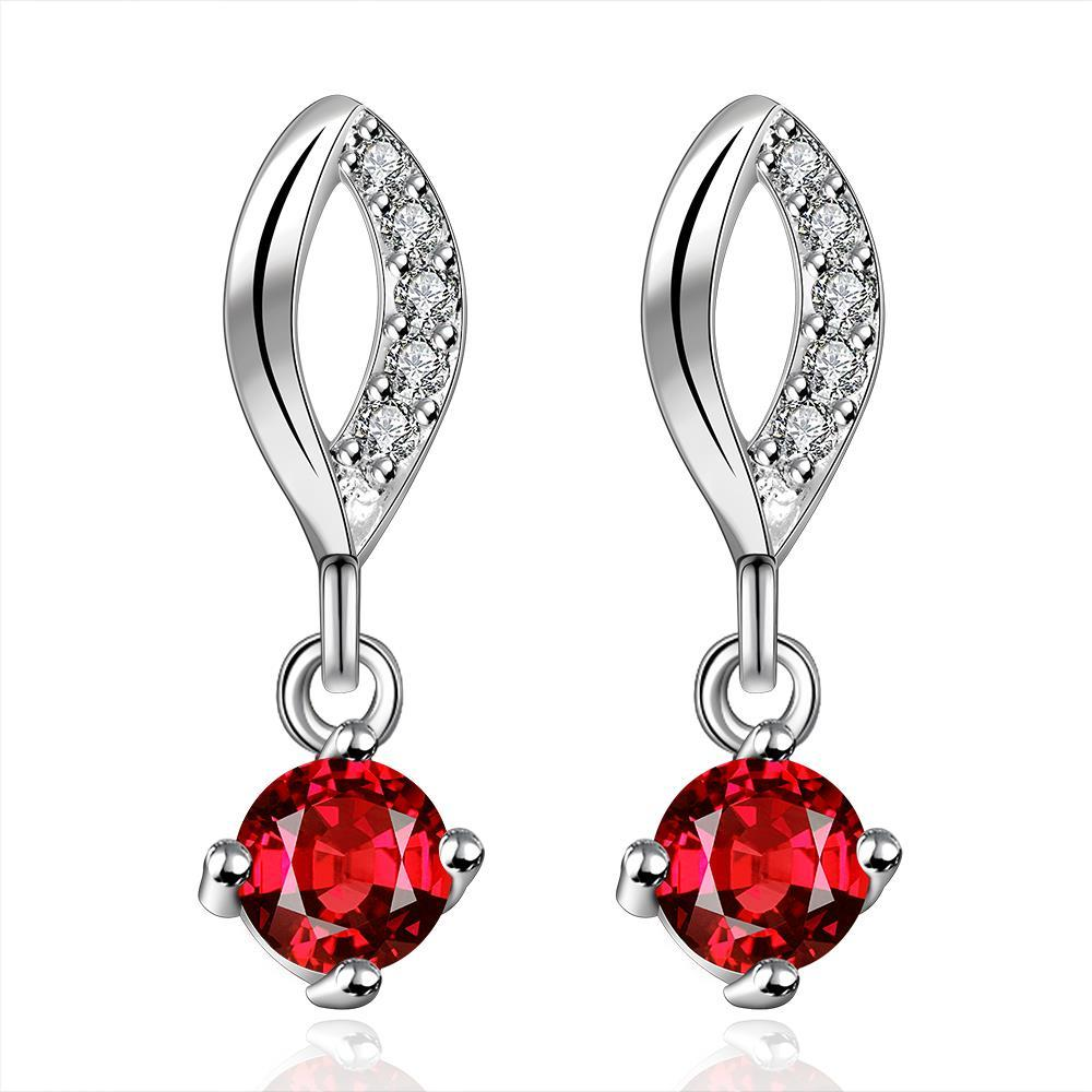 Vienna Jewelry Sterling Silver Ruby Gem Stone Drop Drop Earring - Thumbnail 0