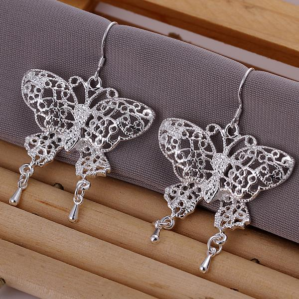 Vienna Jewelry Sterling Silver Laser Cut Flying Butterfly Earring - Thumbnail 0