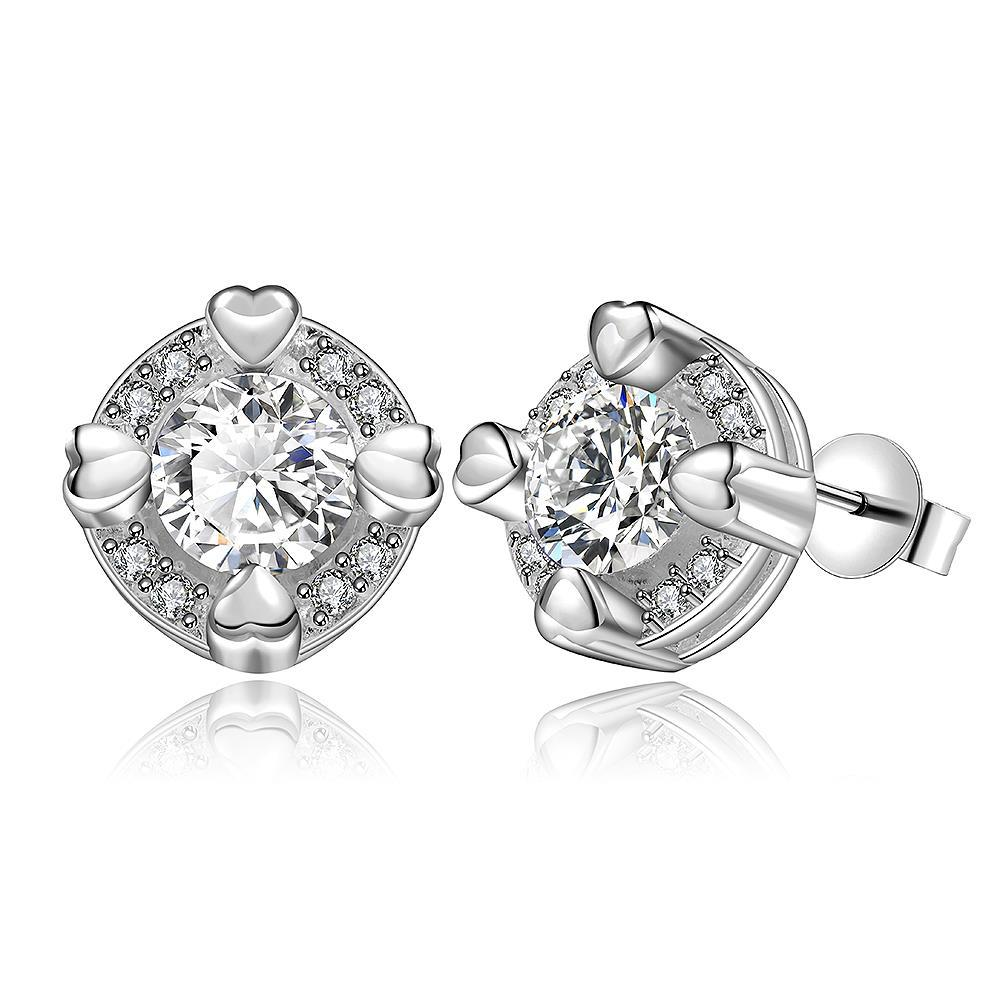 Vienna Jewelry Sterling Silver Crystal Heart Surronding Stud Earring