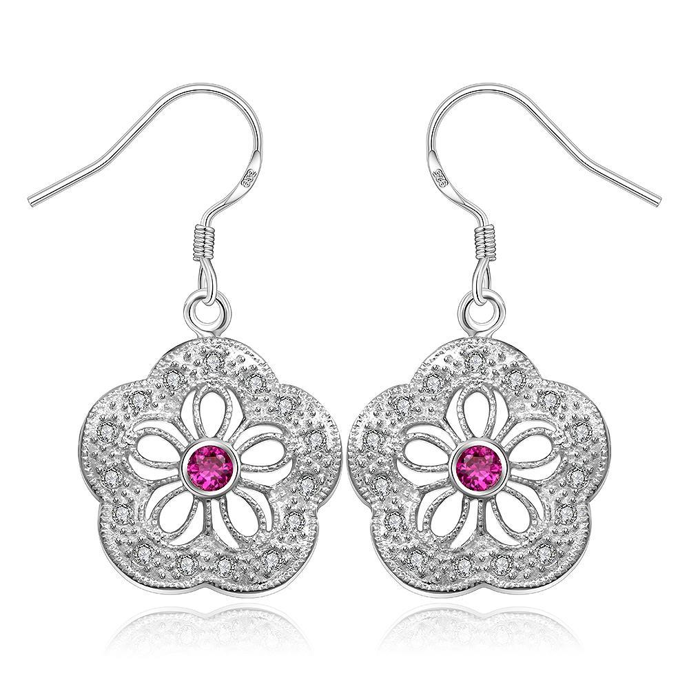 Vienna Jewelry Sterling Silver Hollow Clover Ruby Citrine Earring
