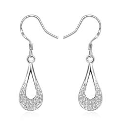 Vienna Jewelry Sterling Silver Laser Cut Curved Drop Drop Earring - Thumbnail 0