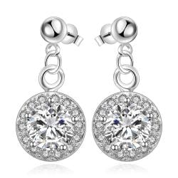 Vienna Jewelry Sterling Silver Circular Crystal Stone Pendant Drop Earring - Thumbnail 0