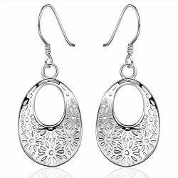 Vienna Jewelry Sterling Silver Filligree Hoop Drop Earring - Thumbnail 0