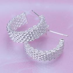 Vienna Jewelry Sterling Silver Wired Half Cut Hoops - Thumbnail 0