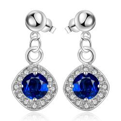 Vienna Jewelry Sterling Silver Sapphire Gem Classical Drop Earring - Thumbnail 0