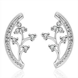 Vienna Jewelry Sterling Silver Floral Orchid Stud Earring - Thumbnail 0