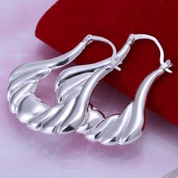 Vienna Jewelry Sterling Silver Seashell Design Hoops - Thumbnail 0
