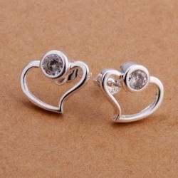 Vienna Jewelry Sterling Silver Abstract Curved Heart Shaped Earring with Purple Citrine - Thumbnail 0
