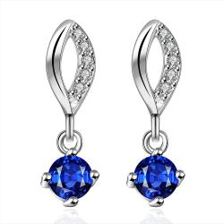 Vienna Jewelry Sterling Silver Sapphire Gem Stone Drop Drop Earring - Thumbnail 0
