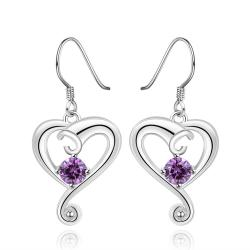 Vienna Jewelry Sterling Silver Purple Citrine Curved Heart Drop Earring - Thumbnail 0
