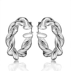 Vienna Jewelry Sterling Silver Petite Classical Intertwined Hoop Earring - Thumbnail 0