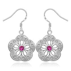Vienna Jewelry Sterling Silver Hollow Clover Ruby Citrine Earring - Thumbnail 0