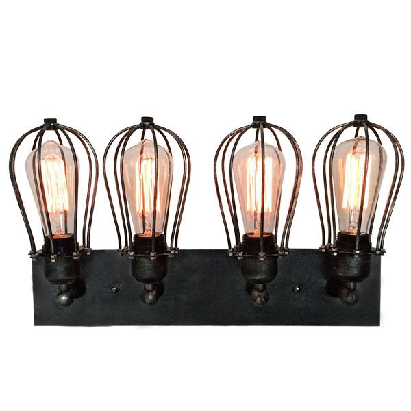 4 light vintage industrial cage edison wall lamp light wall sconce