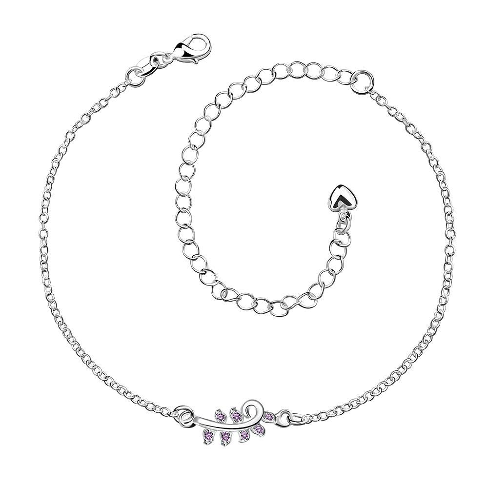 Vienna Jewelry Crystal Jewels Zig Zag Petite Anklet