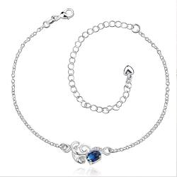 Vienna Jewelry Mock Saphire Orchid Emblem Petite Anklet