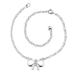 Vienna Jewelry Large Love-Knot Pendant Anklet