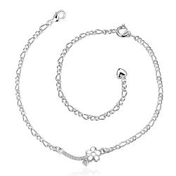 Vienna Jewelry Petite Floral Clover Emblem Anklet