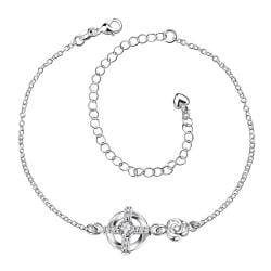 Vienna Jewelry Crystal Stone Gem Curved Shaped Petite Anklet