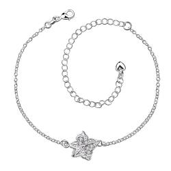 Vienna Jewelry Crystal Jewels Floral Emblem Petite Anklet