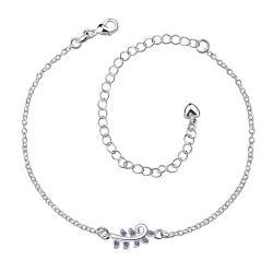Vienna Jewelry Mock Sapphire Zig Zag Petite Anklet