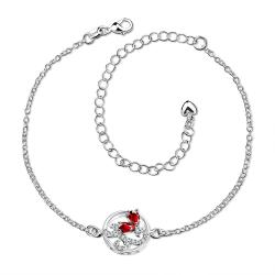 Vienna Jewelry Ruby Red Abstract Circular Emblem Anklet