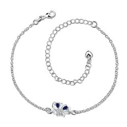 Vienna Jewelry Mock Sapphire Petite Butterfly Petite Anklet