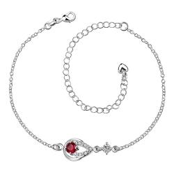Vienna Jewelry Red Ruby Gem Diamond Shaped Petite Anklet