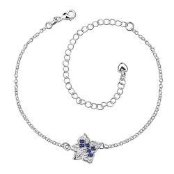Vienna Jewelry Mock Sapphire Floral Emblem Petite Anklet