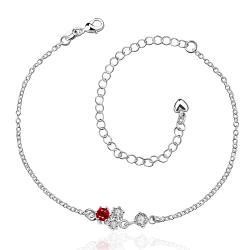 Vienna Jewelry Petite Mock Ruby Red Butterfly Shaped Anklet