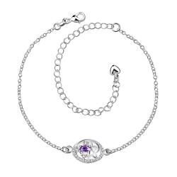 Vienna Jewelry Laser Cut Purple Citrine Emblem Petite Anklet