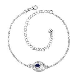 Vienna Jewelry Laser Cut Sapphire Emblem Petite Anklet