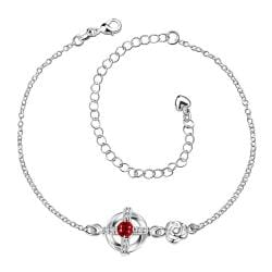Vienna Jewelry Ruby Red Gem Curved Shaped Petite Anklet