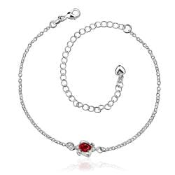 Vienna Jewelry Mini Ruby Red Gem Classic Anklet
