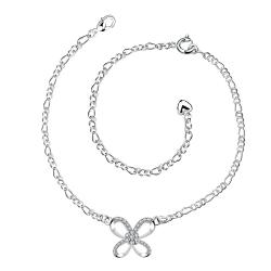 Vienna Jewelry Hollow Butterfly Pendant Petite Anklet