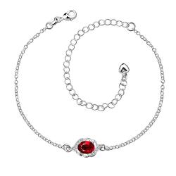 Vienna Jewelry Ruby Red Gem Circular Gem Petite Anklet
