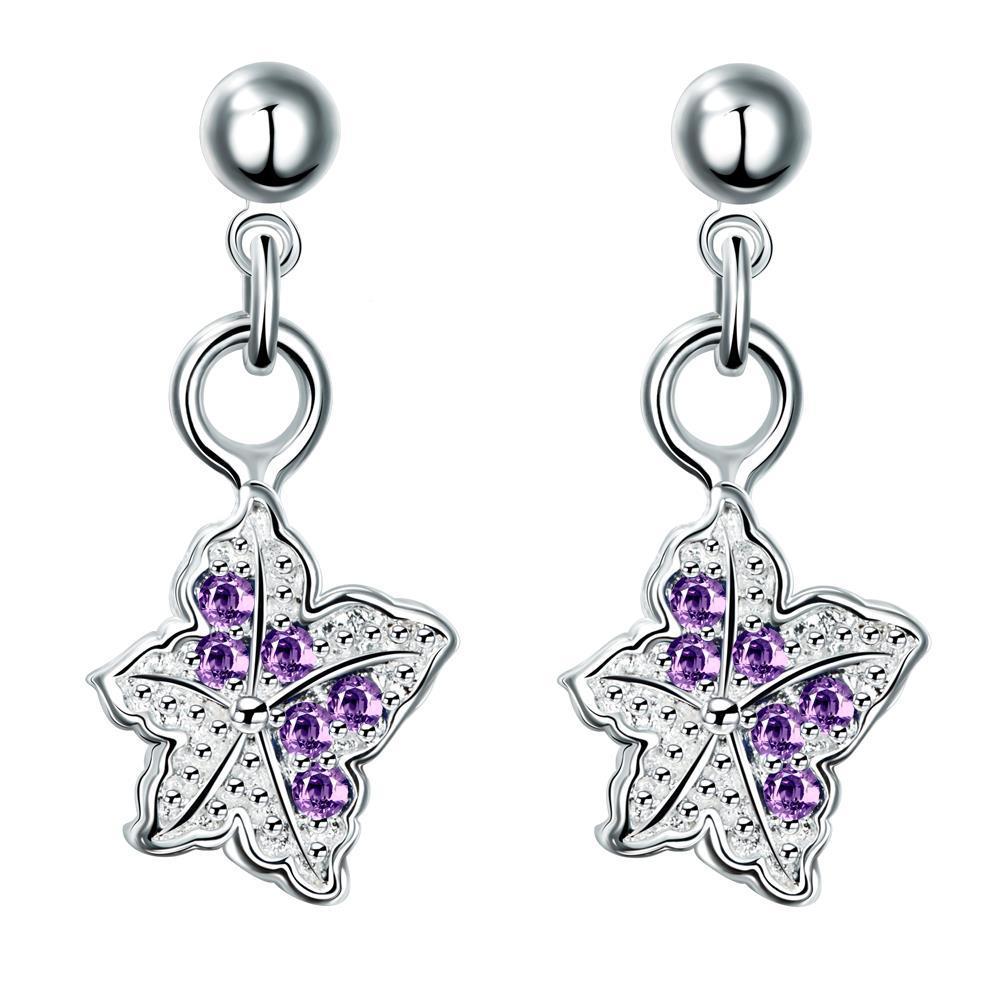 Vienna Jewelry Silver Tone Purple Citrine Dangling Butterfly Earrings
