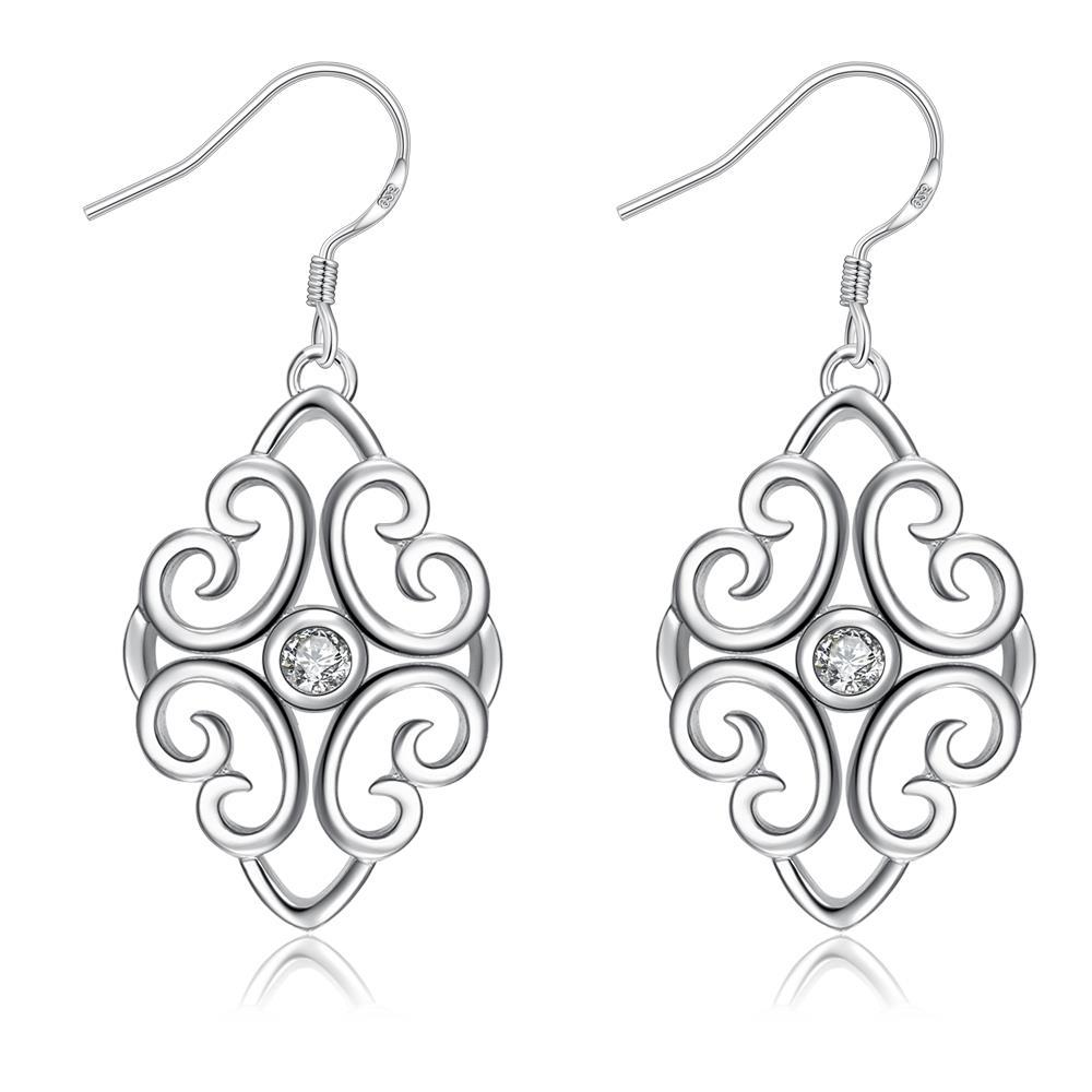 Vienna Jewelry Laser Cut Spiral Heart Drop Earrings