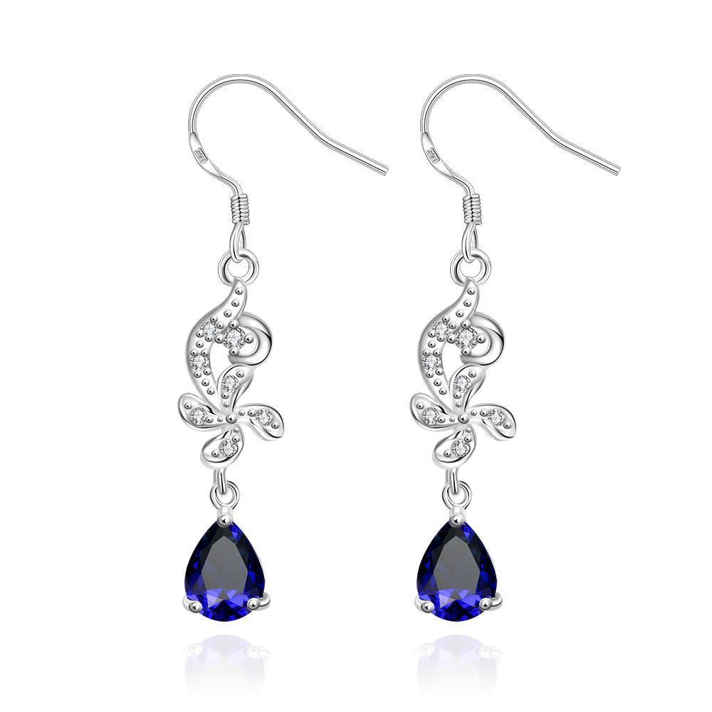 Vienna Jewelry Petite Mock Sapphire Gem Dangling Drop Earrings