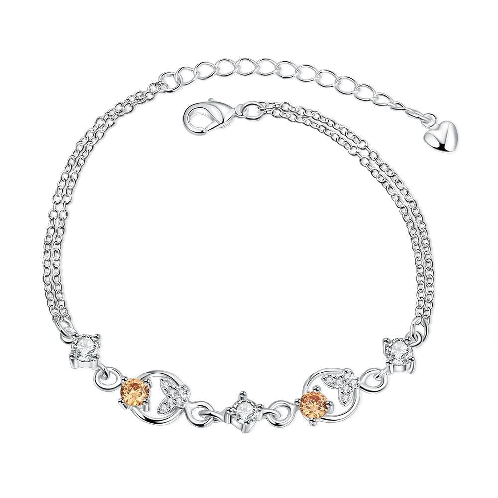 Vienna Jewelry Orange Citrine Crescent Emblem Petite Anklet