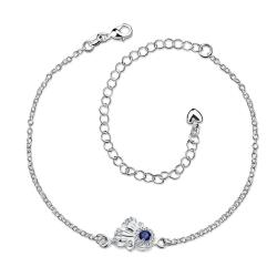 Vienna Jewelry Petite Saphire Gem Floral Anklet