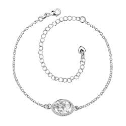Vienna Jewelry Laser Cut Crystal Stone Emblem Petite Anklet