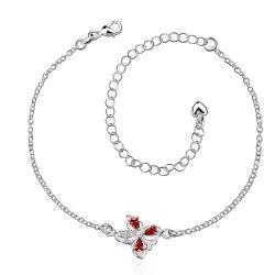 Vienna Jewelry Ruby Red Clover Stud Emblem Anklet