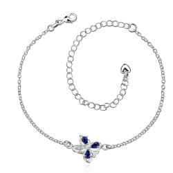 Vienna Jewelry Mock Sapphire Clover Stud Emblem Anklet