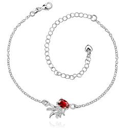 Vienna Jewelry Ruby Red Leaf Branch Pettie Anklet