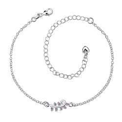 Vienna Jewelry Crystal Jewels Zig Zag Petite Anklet