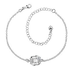 Vienna Jewelry Crystal Stone Curved Abstract Petite Anklet