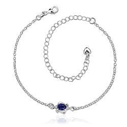 Vienna Jewelry Mini Sapphire Gem Classic Anklet