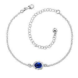 Vienna Jewelry Sapphire Circular Gem Petite Anklet