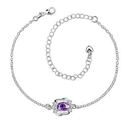 Vienna Jewelry Purple Citrine Curved Abstract Petite Anklet